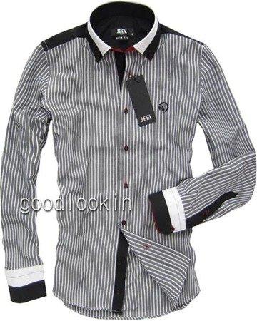 KOSZULA W PASKI SLIM FIT JEEL Jeans GRAFITOWA (3042)