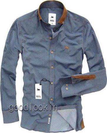 MĘSKA KOSZULA A'LA JEANSOWA JEEL Jeans GRANATOWA (3093)